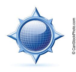 Blauer Globus in Stahlkompass stieg