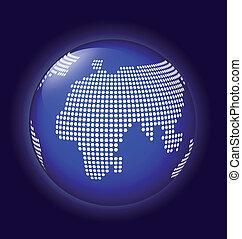 Blauer Globus mit gepunktetem Kartenvektor