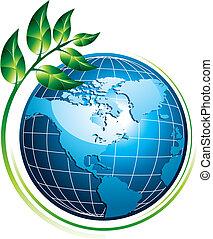 Blauer Globus mit Pflanze