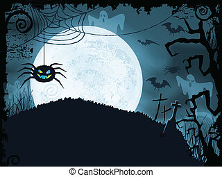 Blauer Halloween Hintergrund mit gruseliger Spinne