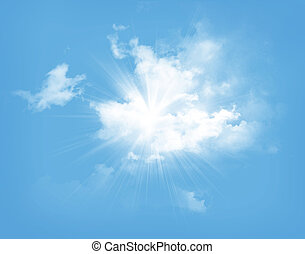 Blauer Himmel mit Wolken und Sonne.