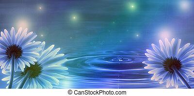 Blauer Hintergrund mit Blumen und Wasserwellen.