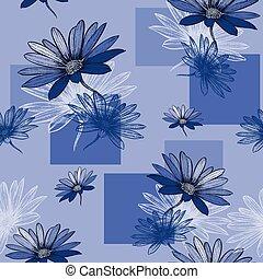 Blauer Hintergrund mit Camomile, Handarbeit. Vector krank