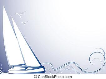 Blauer Hintergrund mit einem Yachtblauen Ba