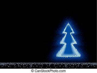 Blauer, leuchtender Weihnachtsbaum.