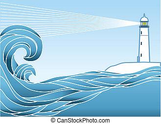 Blauer Meeresblick. Vektor Illustration mit Leuchttürmen