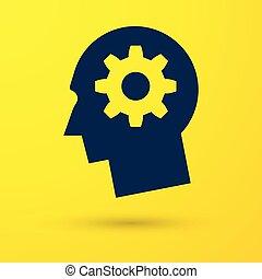 Blauer menschlicher Kopf mit Gang innerhalb Ikone isoliert auf gelbem Hintergrund. Künstliche Intelligenz. Denke ans Gehirnzeichen. Symbolarbeit des Gehirns. Vector Illustration