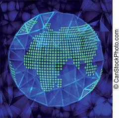 Blauer polygonaler Globus.