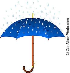 Blauer Regenschirm.