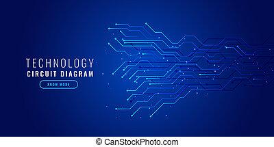 Blauer Technologie Hintergrund mit Schaltplan.