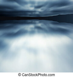 Blauer verschwommener See