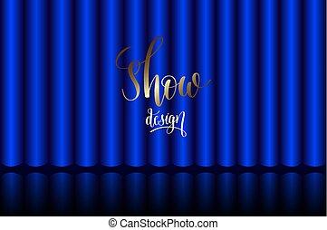 Blauer Vorhang auf der Bühne im Theater.