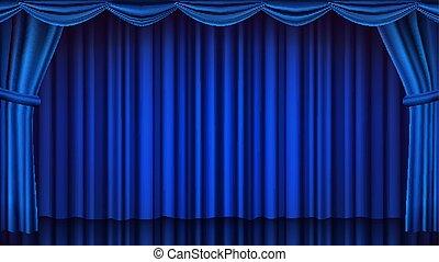 Blauer Vorhang. Theater, Oper oder Kino geschlossene Szene. Realistische blaue Vorhänge Illustration