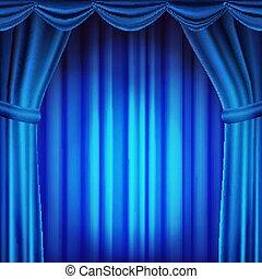 Blauer Vorhang. Theater, Oper oder Kino. Leere Seidenbühne, blaue Szene. Realistische Illustration