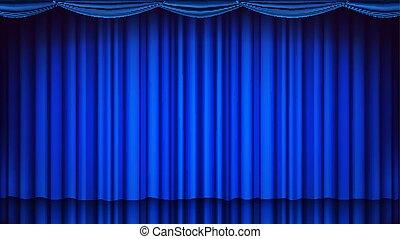 Blauer Vorhang. Theater, Oper oder Kino, leere Seidenbühne, blaue Szene. Realistische Illustration