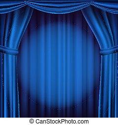 Blauer Vorhang. Theater, Oper oder Kino. Realistische Illustration