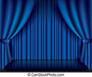 Blauer Vorhang, Vektorgrafik.