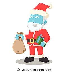 Blauer Weihnachtsmann mit einem Sack Geschenk.