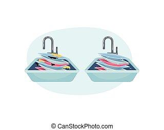 blaues, abbildung, hintergrund., form, vektor, oval, platten, sink., stapel