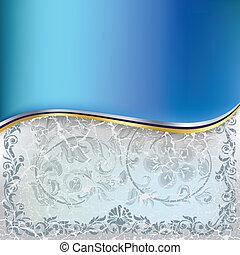 blaues, abstrakt, verzierung, hintergrund, blumen-, rissig, weißes