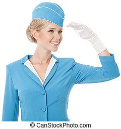 blaues, angezogene , uniform, stewardeß, hintergrund, weißes, bezaubern