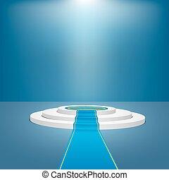 Blaues Bühnenpodium für die Preisverleihung. Vector Illustration macht 10