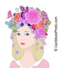 blaues, blumen-, haar, m�dchen, blond, augenpaar, porträt, hübsch