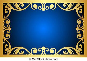 blaues, blumen-, rahmen, vektor, gold