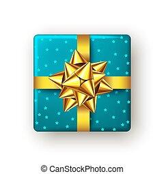 blaues, bow., geschenkband, geschenk, goldenes, kasten