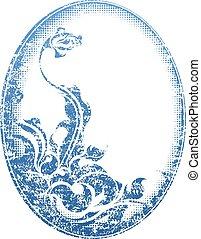 blaues, dekor, grunge, flower., rahmen, -, blumen-, retro, oval