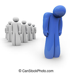 blaues, deprimiert, -, person, gefühl