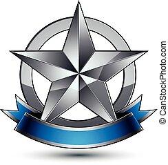 blaues, emblem, hochentwickelt, vektor, glänzend, wav, stern, silber