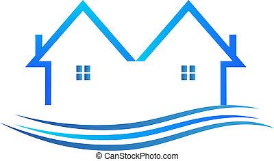 blaues, farbe, vektor, logo, häusser