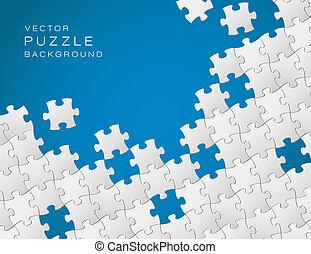 blaues, gemacht, puzzlesteine, vektor, hintergrund, weißes