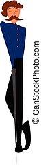 blaues, groß, seine, steht, farbe, angezogene , oder, herr, abbildung, uniform, vektor, schwarz, schwert, besitz, gekreuzt, dünn, beine, zeichnung