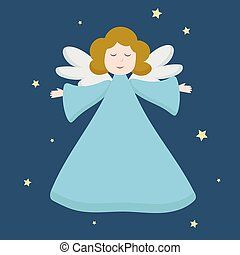 blaues, gruß, weihnachten, porträt, design, angel., engelhaft, figur, stars., hintergrund, fliegendes, einladungen, zeichen, clothes., reizend, karten, ansicht, dunkel, engelchen, vektor, freigestellt