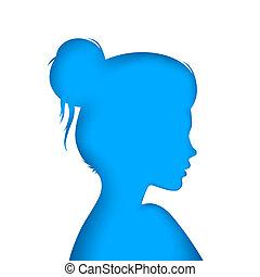 blaues, illustration., -, papier, m�dchen, nett