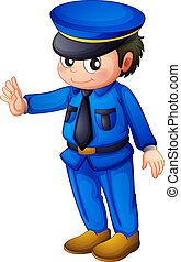 blaues, informieren, polizei, vollständig, offizier