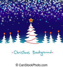 blaues, jahreszeiten, winter, abstrakt, baum, hintergrund, vektor, wald, sternen, weißes weihnachten