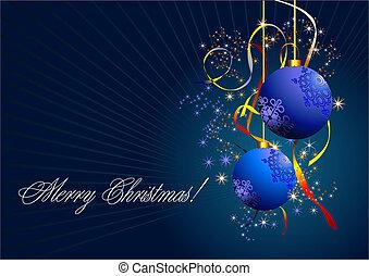 blaues, karte, scheinen, neu , -, kugeln, weihnachten, jahr