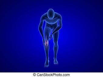 blaues, koerper, menschliche , render, pain., koerperbau, hintergrund, knie, 3d