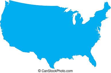 blaues, land, usa, landkarte