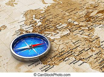 blaues, landkarte, altes , metall, kompaß, welt