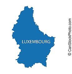 blaues, landkarte, luxemburg