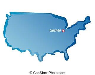 blaues, landkarte, vektor, usa