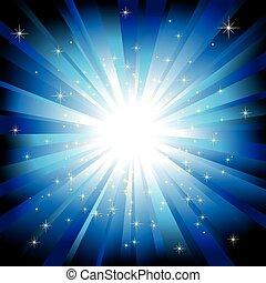 Blaues Licht platzte vor funkelnden Sternen