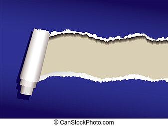 blaues, locke, papier