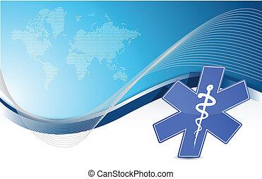 blaues, medizinisches symbol, hintergrund, welle