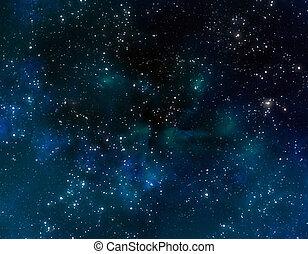 blaues, nebelfleck, wolkenhimmel, raum