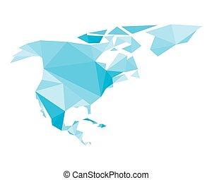 blaues, polygonal, amerika, nord, landkarte